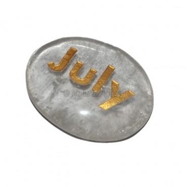 Crystal Quartz July Engraved Stone