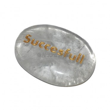 Crystal Quartz Successful Engraved Stone