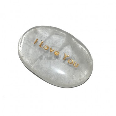 Crystal Quartz I Love You Engraved Stone