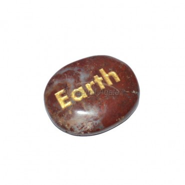 Red Jasper Earth Engraved Stone