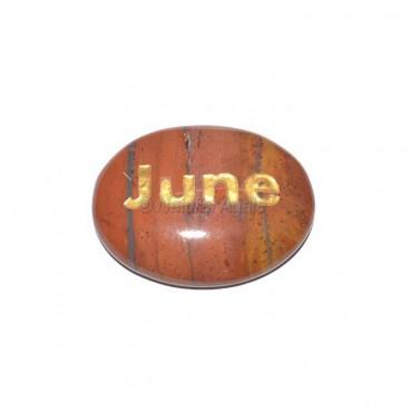 Red Jasper June Engraved Stone