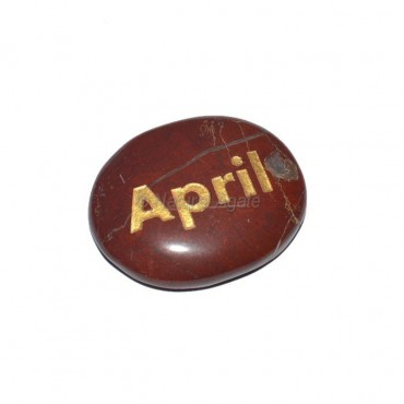 Red Jasper April Engraved Stone