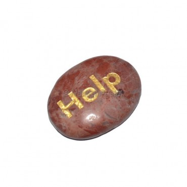 Red Jasper Help Engraved Stone