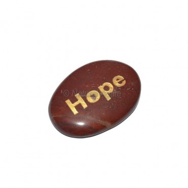Red Jasper Hope Engraved Stone