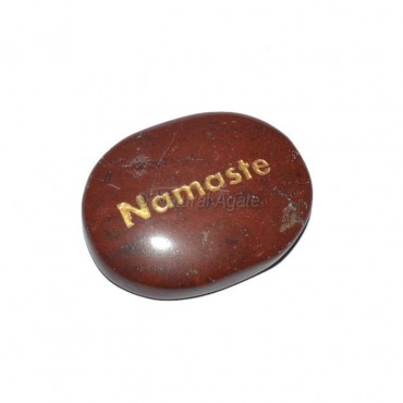 Red Jasper Namaste Engraved Stone