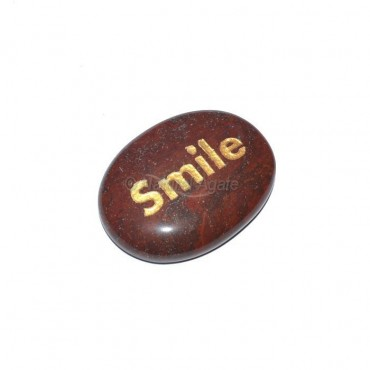 Red Jasper Smile Engraved Stone