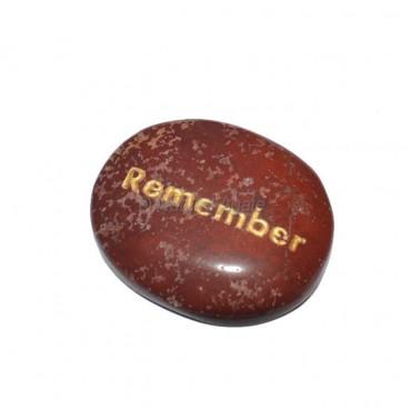 Red Jasper Remember Engraved Stone