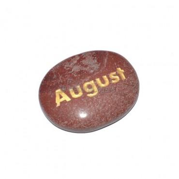 Red Jasper August Engraved Stone