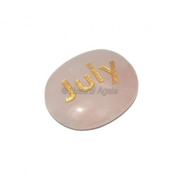 Rose Quartz July Engraved Stone