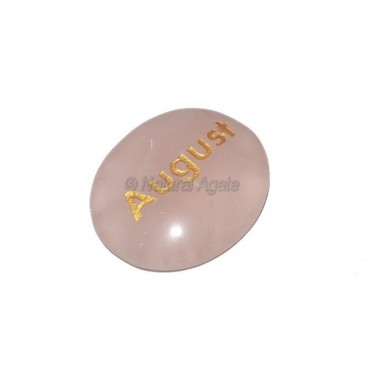 Rose Quartz August Engraved Stone