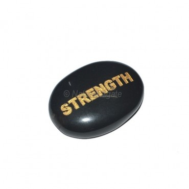 Black Agate Strength  Engraved Stone