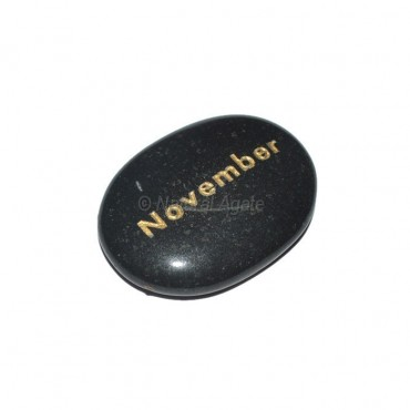 Black Agate November  Engraved Stone