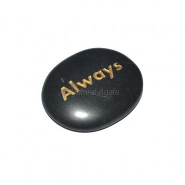 Black Agate Always Engraved Stone