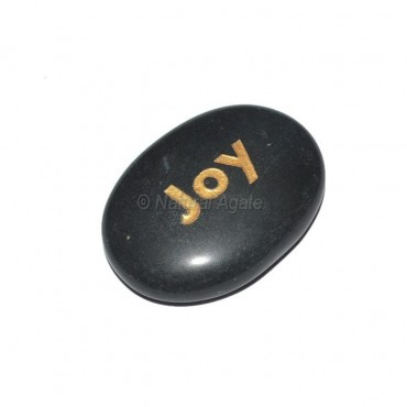Black Agate joy Engraved Stone