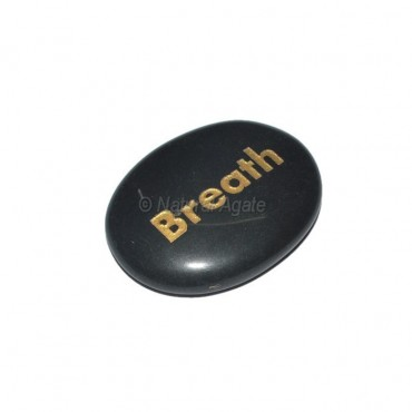 Black Agate Breath Engraved Stone