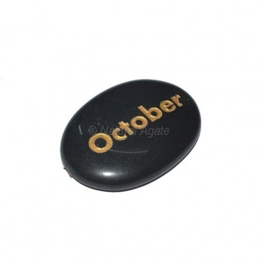 Black Agate October Engraved Stone