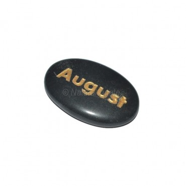 Black Agate August Engraved Stone