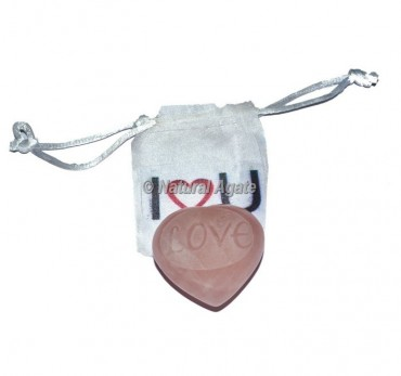 Love Embossed Rose Quartz Heart Engraved Stone