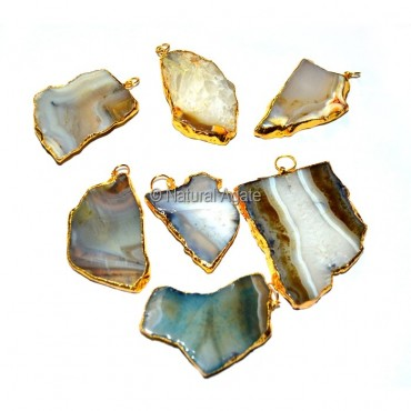 Mix Agate Slices Electroplated Pendants