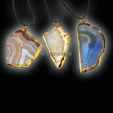 Mix Agate Slices Electroplated Necklace