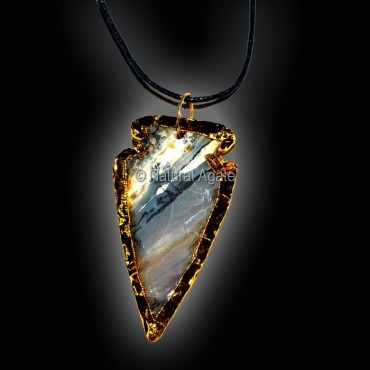 Electroplated Agate Arrowheads Necklace