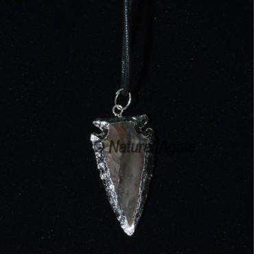Brwon Jasper Silver Electroplated Arrowheads Neckl
