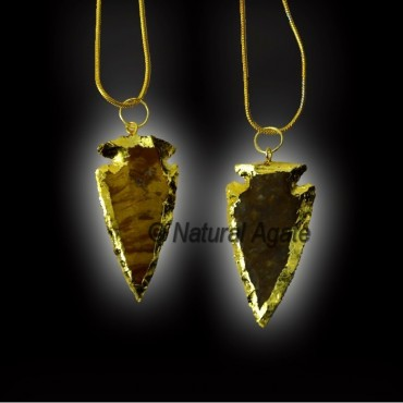 Electroplated Agate Stone Arrowheads Necklace