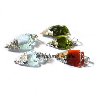 Glass Arrowheads Elecroplated Pendants