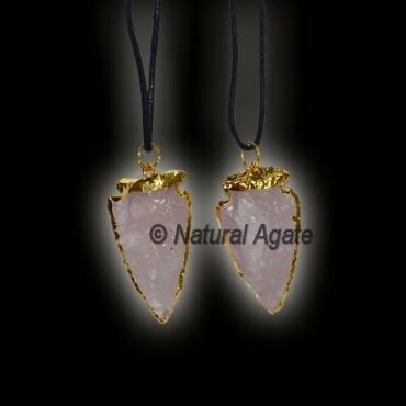 Rose Quartz Electroplated Arrowhead Necklace