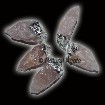 Rose Quartz Silver Natural Electroplated Pendats