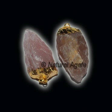 Rose Quartz Natural Electroplated Pendants