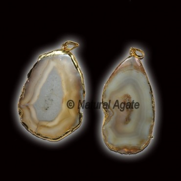 Agate Slices Electroplated Pendants