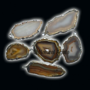 Agate Slices Silver Electroplated Pendants