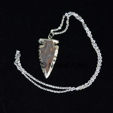 Brown Jasper Electroplated Arrowheads Necklace wit
