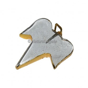 Crystal Quartz Shark Electroplated Pendants