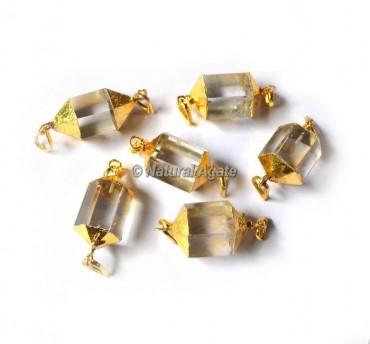 Crystal Quartz Electroplated Pendants
