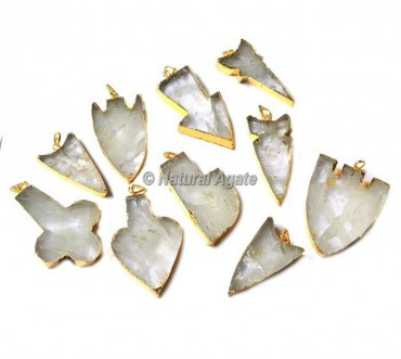 Crystal Quartz Mix Shape Electroplated Pendants