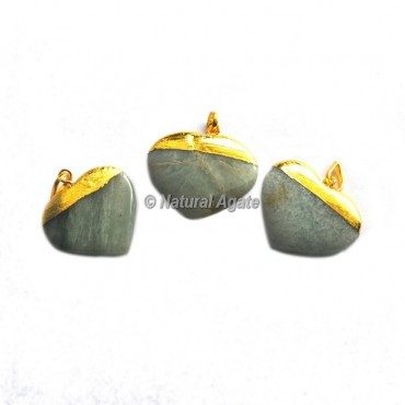 Green Aventurine Heart Shape Electroplated Pendants
