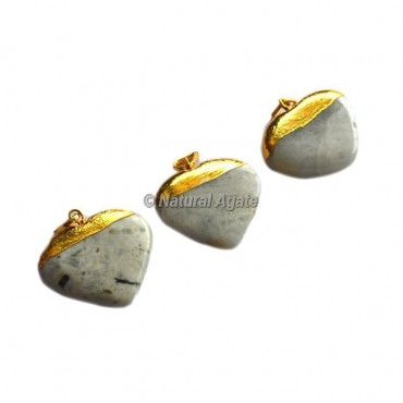 Rainbow Moon Stone Heart Shape Electroplated Pendants