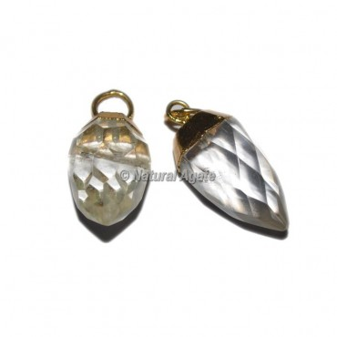 Crystal Quartz Electroplated Drop Pendants
