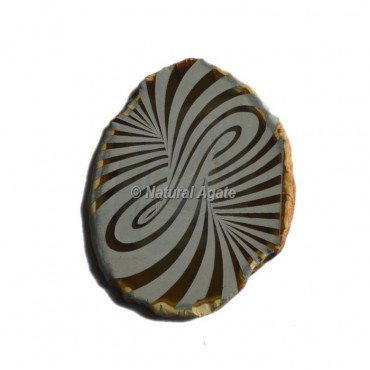 Engraved Wave Design On Agate Slice