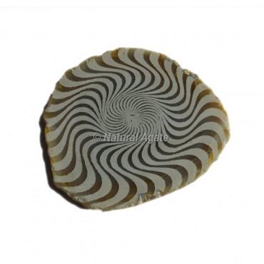 Engraved Wave Design On Agate Slice