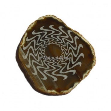Engraved Wave Symbol On Agate Slice