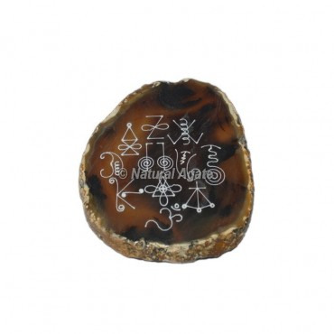 Engraved Karuna Reiki Symbol On Agate Slice