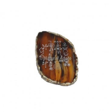 Mix Engraved Reiki Symbol On Agate Slice