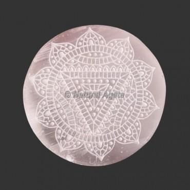Engraved  Beautiful Selenite Coasters | Selenite Plates