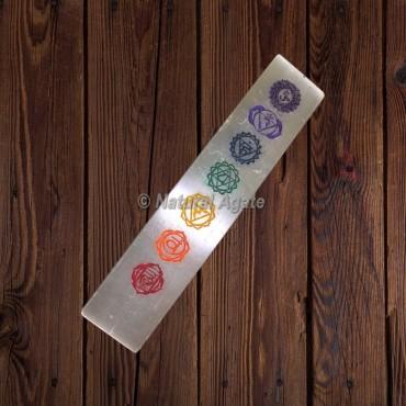 Engraved Seven Chakra Sanskrit Symbols Selenite Wand Plate Stick