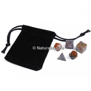 Fancy Jasper Sacred Geometry Set With Gift Pouch