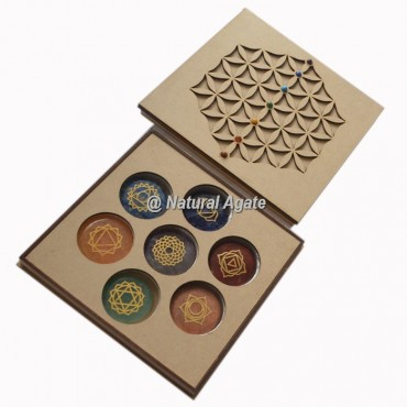 Flower Of Life Wooden Chakra Gift Box With Chakra stone