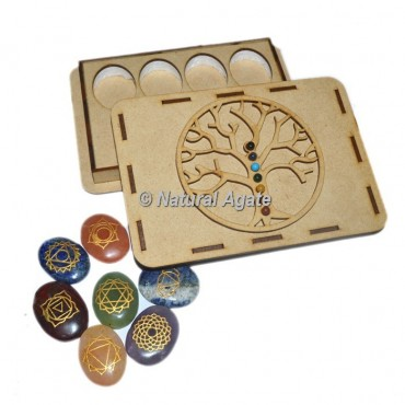 Engraved Chakra Oval Set With Chakra Stone Tree Of Life Gift Box